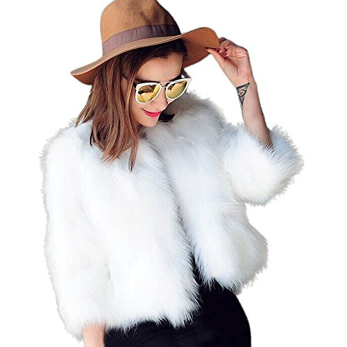 Lazzboy Damen Kurze Mantel Kunstpelz Kunstfell Cardigan Felljacke Jacke Strickjacke Outwear(Weiß,40)