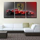 Leinwanddruck 3 Teiliges Wandbild-Formel 1 Rot Ferrari Bild