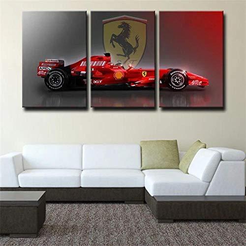 Leinwanddruck 3 Teiliges Wandbild-Formel 1 Rot Ferrari Bild Auf Leinwand 3 Teilig Leinwandbilder Wohnzimmer,Büro,Küche,Badezimmer,Schlafzimmer Deko Kreatives Geschenk 50X70Cmx3