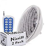 Greenice | Pack 2 Foco de Piscina LED Par 56 Multicolor Mando a Distancia 25W | RGB