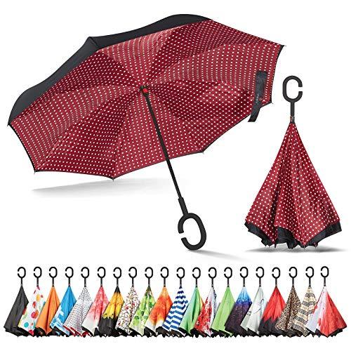 Sharpty Inverted Umbrella, Umbrella Windproof, Reverse Umbrella, Umbrellas for Women, Upside Down Umbrella with C-Shaped Handle (Burgundy Polkadots)