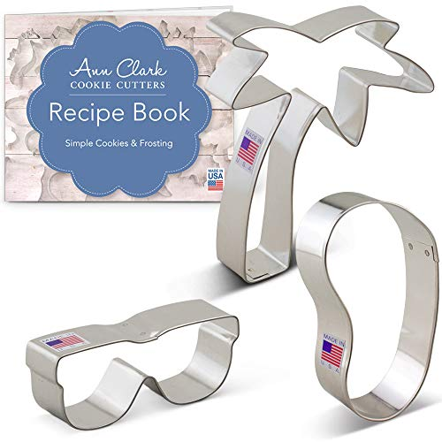 Ann Clark Cookie Cutters 3-Piece Beach Themed Cookie Cutter Set with Recipe Booklet, Flip Flop, Sunglasses, and Palm Tree