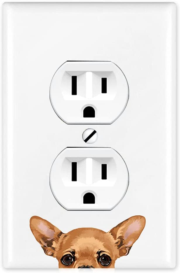 WIRESTER Duplex Outlet Cover Wall Plate/Switch Plate - Fawn Apple Head Chihuahua Dog