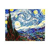 DIYの大人のデジタル絵画の初心者、星空のデジタル絵画の家の装飾、誕生日プレゼント16x20In(フレームレス)