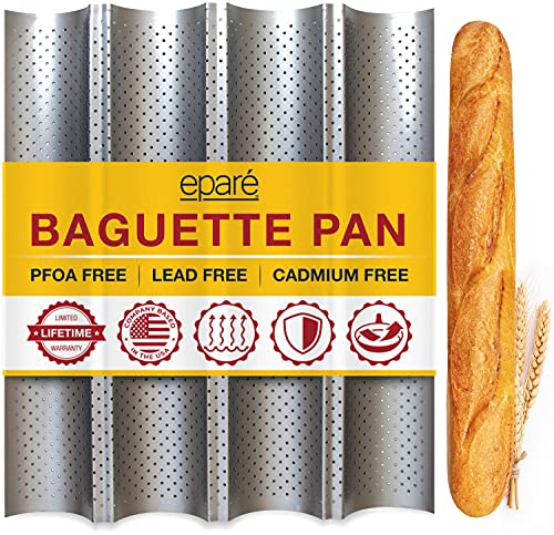 """Baguette Pan for Baking - 15"""" x 13"""" Nonstick Perforated Italian Loaf Mold - Long French Bread Baker"""
