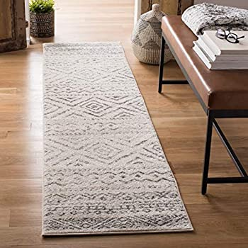 Safavieh Tulum Collection TUL267A Moroccan Boho Distressed Non-Shedding Stain Resistant Living Room Bedroom Area Rug 2  x 5  Ivory / Grey