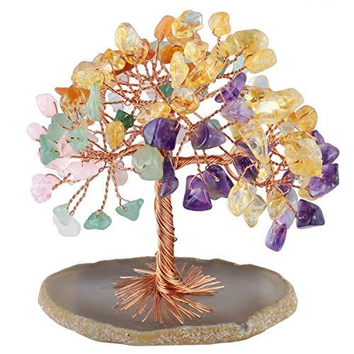 MookaiteDecor - Árbol de dinero con piedras preciosas de Feng Shui, decoración de árbol de cristal curativo, con pie de cuarzo y lámina de geodo de ágata, Surtido, #001-Multicolor, 2.3~2.9 Inch