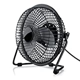 CSL-Computer USB Desk Fan, Cover and Plastic Blades for PC and Laptop Black
