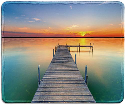 dealzEpic - Art Mousepad - Natural Rubber Mouse Pad Printed with Calm Lake Landscape with Pier at Sunset - Stitched Edges - 9.5x7.9 inches