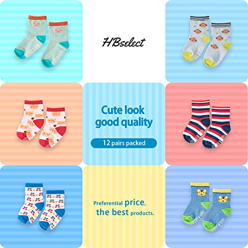 HBselect 12 Pairs Baby Boy Socks Non Slip/Skid Socks for Infants Toddler Boys Girl Cute Cartoon Cotton Baby Girls Boys Socks with Grips (12-36 months)