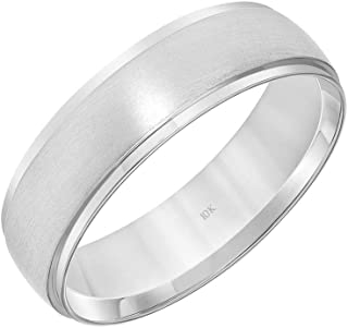 10K White Gold 6MM Classic Traditional Domed Wedding Band Ring for Men and Women by Brilliant Expressions