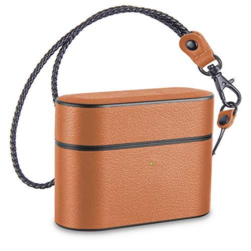 Pevfeciy Airpod Pro - Funda de piel para Apple Airpods Pro con llavero, LED frontal visible, soporte de cargadores inalámbricos, color marrón