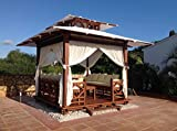 Exaco Trading Company BG 10 Exquisite Handcrafted Solid Wood Gazebo with Sunbrella Canvas Roof, Red Brown