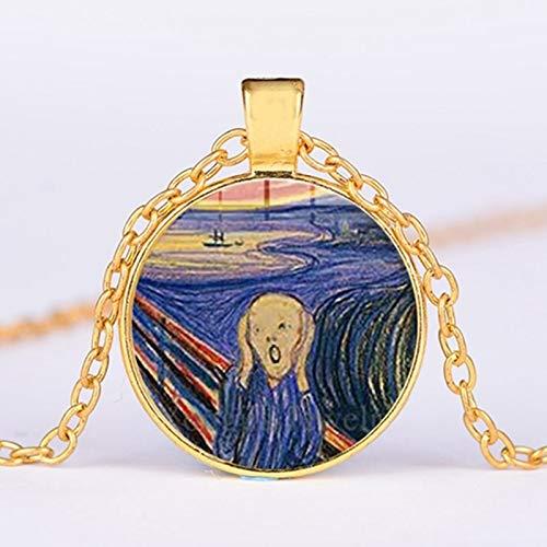 Der Schrei Gemälde Von 1893 Halskette Kunsthandwerk Geschenk Glas Cabochon Zeit Edelstein Metall Anhänger Silberkette