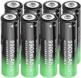 Paquete de 8 Pilas Recargables de 3,7 V con botón Superior para Linterna LED