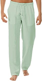 iNoDoZ Men's Summer Loose Simple Long Pants Solid And Fashionable Pure Cotton And Linen Trousers