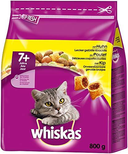 Whiskas Katzenfutter Trockenfutter Senior 7+ mit Huhn, 5 Beutel (5 x 800g)