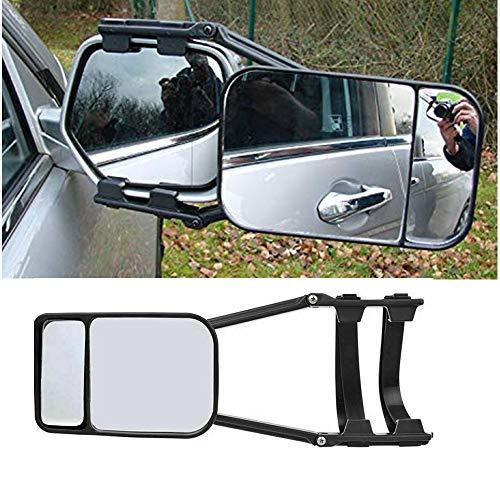 SANWAN - Specchietto da traino per roulotte, con doppio braccio lungo in vetro, confezione da 1