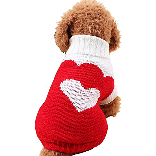 CHBORCHICEN Pet Dog Sweaters Classic Knitwear Turtleneck Winter Warm Puppy Clothing Cute Strawberry and Heart Doggie Sweater (Red2, X-Small)