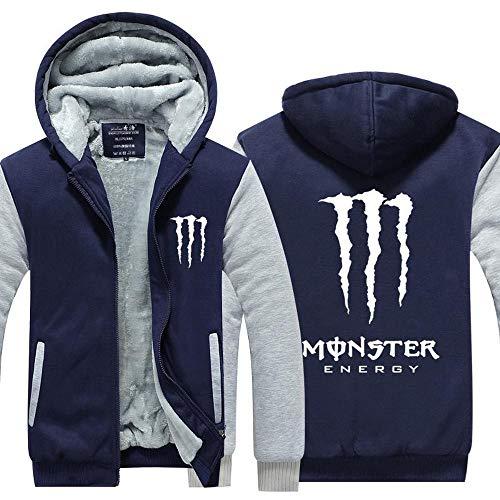 CHUSS Mens-Jacken-Strickjacke-Monster Energy Druck Winter-Stitching Mit Reißverschluss Warm Mit Kapuze Langärmliges Sweatshirt - Teen B-X-Large