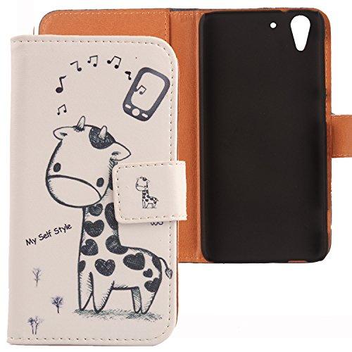 Lankashi PU Flip Leder Tasche Hülle Hülle Cover Schutz Handy Etui Skin Für HTC Desire Eye Giraffe Design