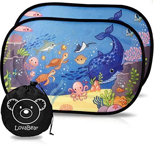 Lovabear Tendine Parasole Auto Bambini Statiche – Adesione Senza Ventose, 2 pezzi 51x31 cm, con Protezione Superiore ai Raggi UV e Calore (SunShield+) (Oceano)