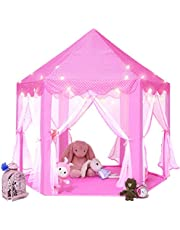 "CYY 10 pcs Princess Tent for Girls, Large Castle Play Tent for kids Indoor and Outdoor Hexagon Playhouse Kids Toys, Foldable&Easy Carrying Children Gift for Games 55""x 53""(DxH)"