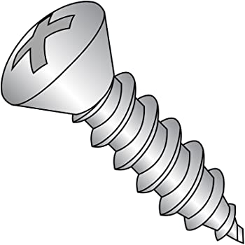Phillips Drive Pack of 50 Type A Plain Finish 82 degrees Oval Head #8-15 Thread Size 18-8 Stainless Steel Sheet Metal Screw 2 Length