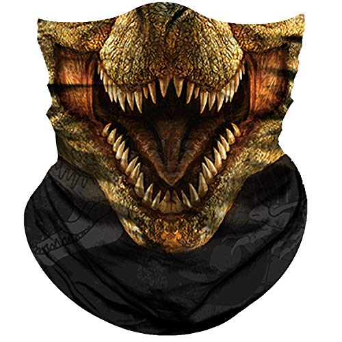 Obacle Motorcycle Face Mask Sun Dust Wind Protection Tube Mask Seamless Bandana Face Mask for Men Women Bike Riding Cycling Biker Fishing Outdoor Festival (Dinosaur Smile Open Mouth Light Brown)