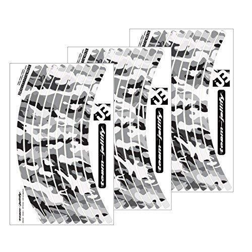 """JOllify Felgenrandaufkleber Laufrad LRS Satz Camouflage """"The Invisible Man"""" für Dein Fahrrad, MTB Sticker - .SCHWARZ Weiss"""