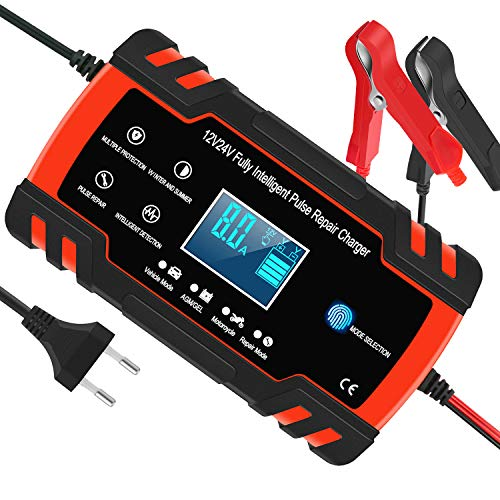 InThoor Mantenitore di Carica Auto 12V/24V 8A, Intelligente Automatico Caricabatterie Manutentore per Auto Moto Camion AGM Batteria con Schermo LCD