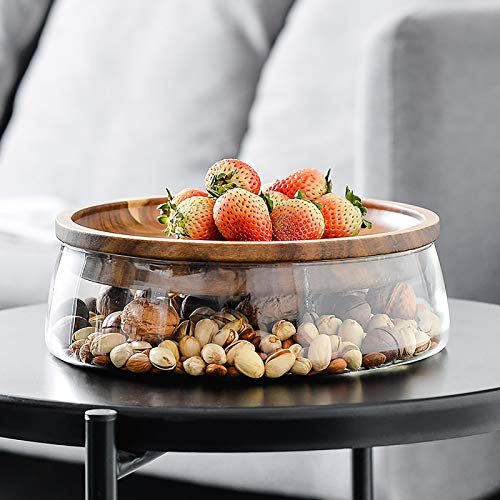 QTQHOME Countertop Clear Crystal Fruit Basket,Glass Fruit Bowl With Wood Lid,Double Layer Candy Bowl Fruit Container For Home Kitchen,Modern Snack Serving Tray-Clear 23x8cm(9x3inch)