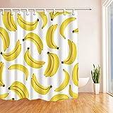 SHUHUI Gelber Bananen Duschvorhang Schlafzimmer wasserdichtes Gewebe und 12Hooks 183X183CM