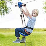 Jugader 160FT Zipline Kits for Backyard with Spring Brake, Cable Tensioning Kit, Detachable Trolley, Adjustable Harness & Seat and 304 Stainless Steel Cable