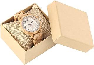 CAIDAI&YL Relojes de Madera para Mujer Movimiento de Cuarzo Color de Madera Pura Reloj de Pulsera con Brazalete para Mujer...