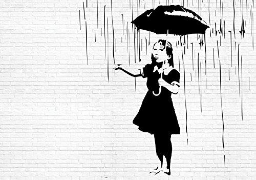 FORWALL Fototapete Tapete Mädchen mit Regenschirm im Regen Banksy P8 (368cm. x 254cm.) AMF2896P8 Wandtapete Design Tapete