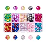 PH PandaHall 200pcs 10 Color Crackle Lampwork Glass Beads 8mm Round Handcrafted Crackle Beads Crystal Beads for Summer Beading Friendship Bracelet Mother's Day Jewelry Making Christmas Tree Ornament