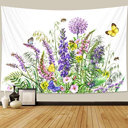 KHKJ Planta Flor Tapiz Tapiz de Dormitorio decoración Bohemia Hippie Escena psicodélica colchón Mandala sofá Manta A3 200x150cm