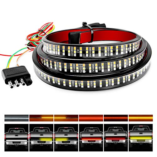 Nilight TR-03 Row 60' Triple 504 LEDs Truck Tailgate Side Bed Light Bar Strip Sequential Amber Brake Running Turn Signal Red/White Reverse