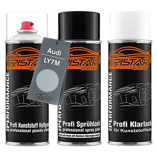 TRISTARcolor Autolack Spraydosen Set für Kunststoff Stoßstange für Audi LY7M Alusilver Metallic/Alusilber Metallic Haftgrund Basislack Klarlack mit Weichmacher Sprühdose