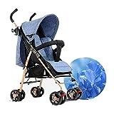 QXMEI Trolley Simple Umbrella Portable Cochecito Cochecito Ligero Plegable Cochecito Baby Four Wheels,Grey