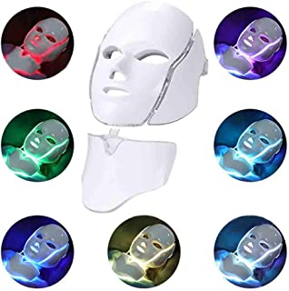 LED 7 Color Light Therapy Mask with Neck Light Skin Rejuvenation Therapy Facial Skin Care Mask Remote Control