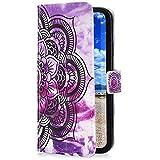 Uposao Funda Compatible con Samsung Galaxy S7 Edge Funda Piel Sintética PU Cuero Libro Billetera Carcasa Brillante Glitter 3D Motif Marbre Soporte Plegable,Magnético Flip Funda,Mandala Morado