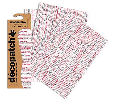 Decopatch Paper - Papel Estampado para Manualidades, diseño de Mensaje de Feliz Navidad en Muchos Idiomas (3 Hojas), Multicolor