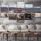 Hgjfg Lona Murales Cuadro moderno en lienzo 5 piezas XXL Impresiones En Coche clásico Mustang plateado Ford Mustang Hd Arte De Pared Imágenes Modulares Sala De Estar Decoración Para El Hogar 150X80Cm