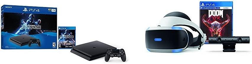 PlayStation 4 Slim 1TB Console - Star Wars Battlefront II Bundle + PlayStation VR - Doom Bundle