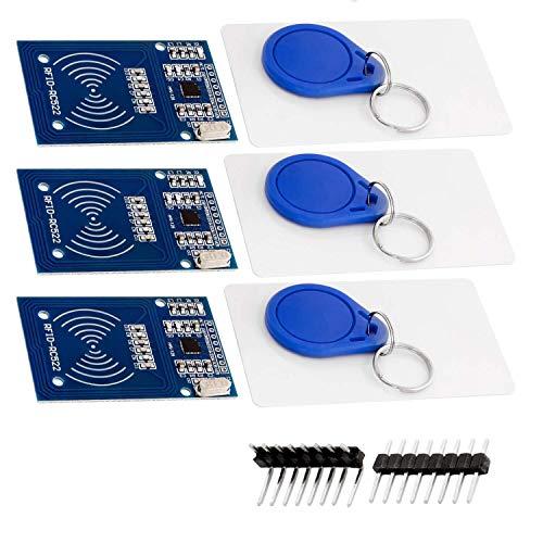 AZDelivery 3 x RFID Kit RC522 mit Reader, Chip und Card 13,56MHz SPI kompatibel mit Raspberry Pi inklusive E-Book!