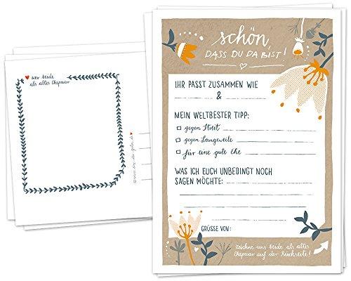 Hochzeitsspiel für Gäste - 52 Postkarten, Schön, dass du da bist, Spiel mit witzigen Fragen & zum Zeichnen, Recyclingpapier Partykarten & Postkartengruß, Beige Gelb Orange Blau, Vintage, Folklore