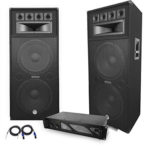 Pack sono COMPLET avec amplificateur PRO 2 Enceintes 4000W PA DJ SONO LED LIGHT BAR CLUB DANSE ZUMBA FITNESS