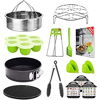 Tecvinci Instant Pot Accessories Set - Fits 5,6,8 Qt Instant Pot Pressure Cooker, Stainless Steel Steamer Basket/Egg Steamer Rack/Food Tongs/Food Grade Silicone Egg Bites Molds And Mini Mitts